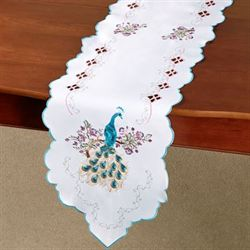 Pretty Peacock Long Table Runner Multi Pastel 13 x 65