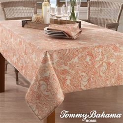 East India Paisley Oblong Tablecloth Light Cream