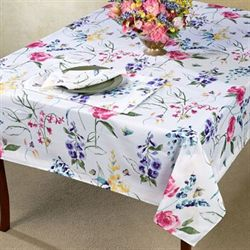 Papillon Garden Oblong Tablecloth White