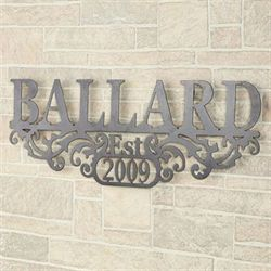 Kinship Name and Year Wall Art Sign Antique Pewter