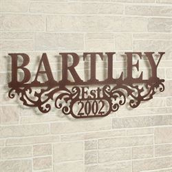Kinship Name and Year Wall Art Sign Brown