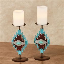 Southwest Candleholders Rustic Brown Pair