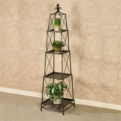Stackable Obelisk Storage Shelf Antique Black 4 Tier