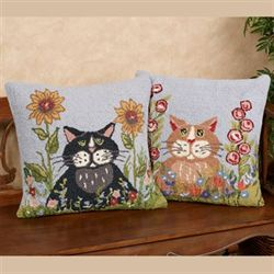 Spring Black Cat Decorative Pillow 18 Square