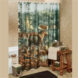 Back Bay Moose Shower Curtain Multi Warm 72 x 72