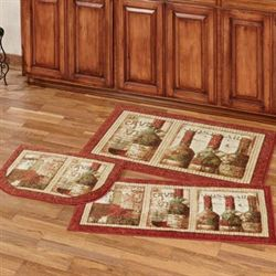 French Cellar Accent Rugs Multi Warm Three Piece Set