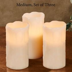 Drip Edge Medium LED Candles Ivory