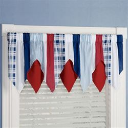Hatteras Stripe Layered Valance White 72 x 22