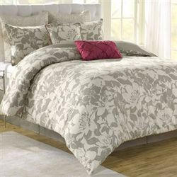 Peony Floral 8 pc Comforter Bed Set Gray