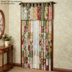 Antique Chic Tab Top Curtain Pair Multi Warm 84 x 84