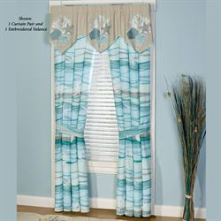 Seaview Tailored Curtain Pair Light Blue 84 x 84