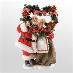 Evergreen Love Clothtique Santa Figurine Red/Green
