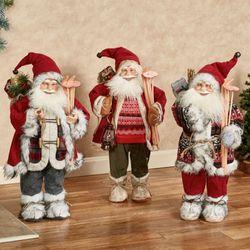 Classic Santa Skier Standing Figures Multi Warm Set of Three