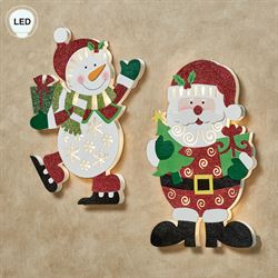Santa and Frosty Lighted Wall Accents White Red Set of Two