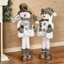 White Snowman Stander Figures Set of Two