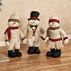 Holiday Snowman Standers Ecru Set of Three