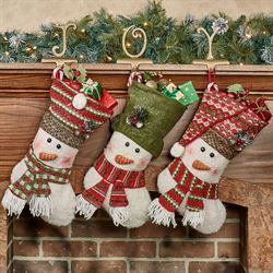 Holly Sweater Snowman Stockings Multi Bright Set of Three