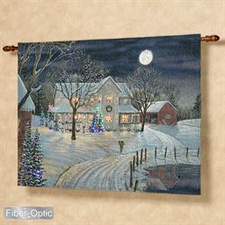 Holiday Night Fiber Optic Lighted Wall Tapestry Multi Warm