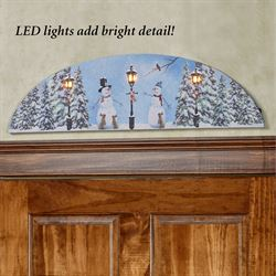 Jolly Snowmen Arched LED Canvas Blue