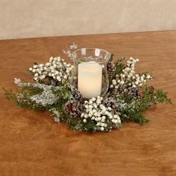 Iced Berry and Cedar Candleholder Centerpiece Multi Earth