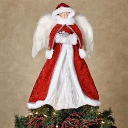 Red Angel Christmas Tree Topper White/Red