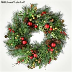 Holiday LED Lighted Wreath Green