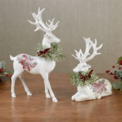 Poinsettia Deer Figures White Set of Two