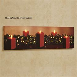 Christmas Classic LED Lighted Canvas Wall Art Red