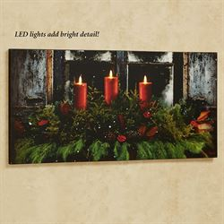 Pine Window Box LED Canvas Wall Art Red