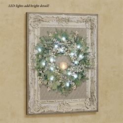 Vintage Framed Wreath LED Canvas Wall Art Green
