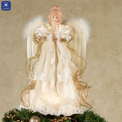 Majestic Angel Lighted Christmas Tree Topper Ivory/Gold