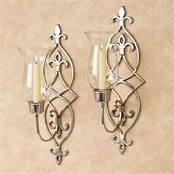 Jonetia Hurricane Wall Sconces Satin Nickel Pair