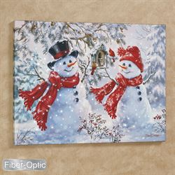 Snow Sweethearts Snowman Canvas Wall Art White