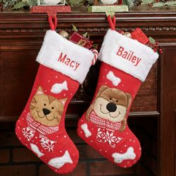 Holiday Cat Christmas Stocking Red