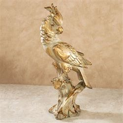 Cockatoo on Branch Table Sculpture Gold