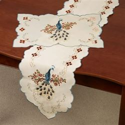 Proud Peacock Long Table Runner Multi Warm 13 x 65
