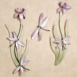 Dragonflies Iris Blooms Wall Sculpture Set Lilac Set of Three