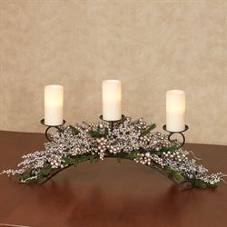 Elegant Berry and Pine Candelabra Centerpiece Champagne Gold