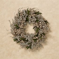 Elegant Berry and Pine Holiday Wreath Champagne Gold