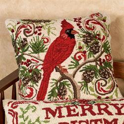 Cardinal with Pine Cones Accent Pillow Multi Warm 18 Square