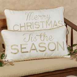 Merry Christmas Decorative Pillow Ivory Rectangle