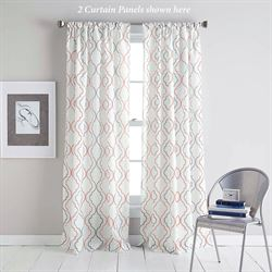 Nahla Semi Sheer Curtain Panel Coral 50 x 84