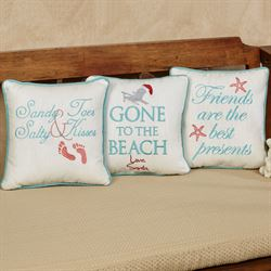 Coastal Holiday Decorative Pillows Off White Set of Three