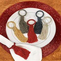 Beaded Tassel Napkin Rings Set of Four