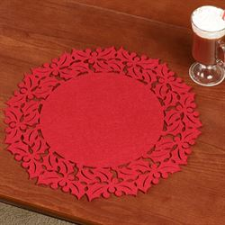 Holly Frame Felt Placemats Red Set of Four