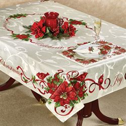 Christmas Cardinals Oblong Tablecloth Ivory