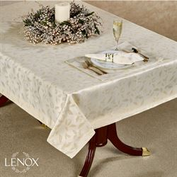 Lenox Holly Shimmer Oblong Tablecloth Ivory