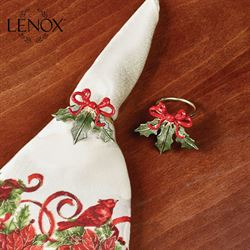 Lenox Holiday Ribbon Napkin Rings Green Set of Four