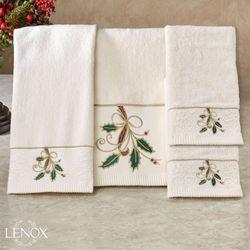 Lenox Ribbon and Holly Bath Towel Set Ivory Bath Hand Fingertip