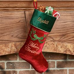 Christmas Splendor Stocking Burgundy